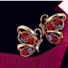 Модные инкрустированные стразы серьги бабочки Корейская версия