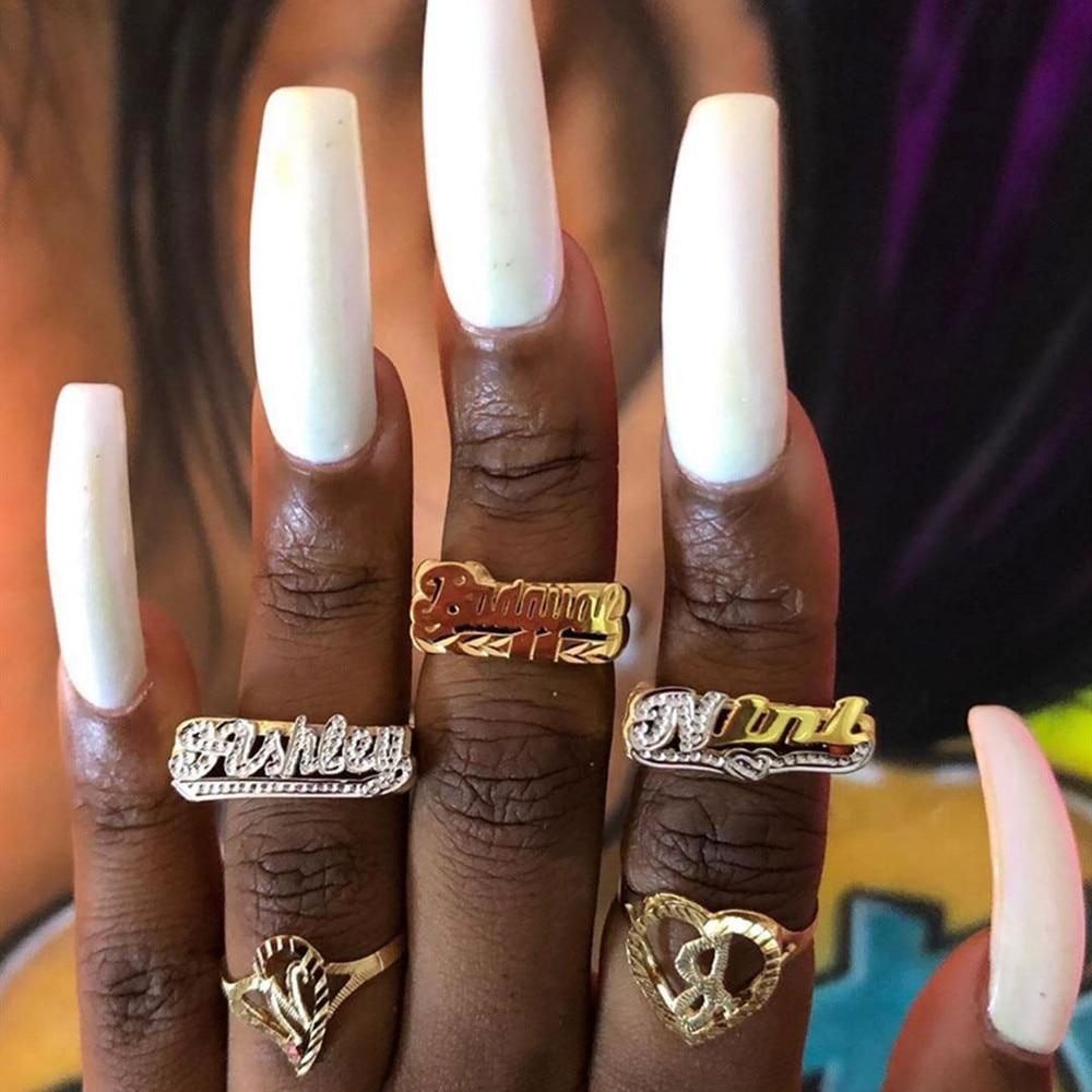 Кольцо Aurolaco с именем на заказ, Золотое кольцо в стиле хип-хоп, женское модное кольцо с надписью в стиле панк, подарок