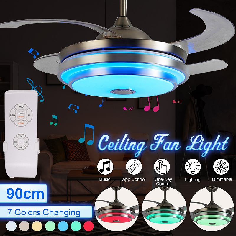 LED Modern Bluetooth Music Fan Light Ultra-quiet Intelligent Remote Control Telescopic Ceiling Fan Light Restaurant Living Room