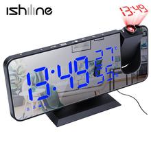 Cyfrowy budzik LED zegar zegarek elektroniczny stół zegary stołowe USB obudzić czasu radia FM żarówka jak funkcją drzemki 2 alarmy tanie tanio CN (pochodzenie) SQUARE DIGITAL 250g 18 3mm Zegarki z alarmem Radio Z tworzywa sztucznego 9 5mm Nowoczesne Projektor Jedna twarz