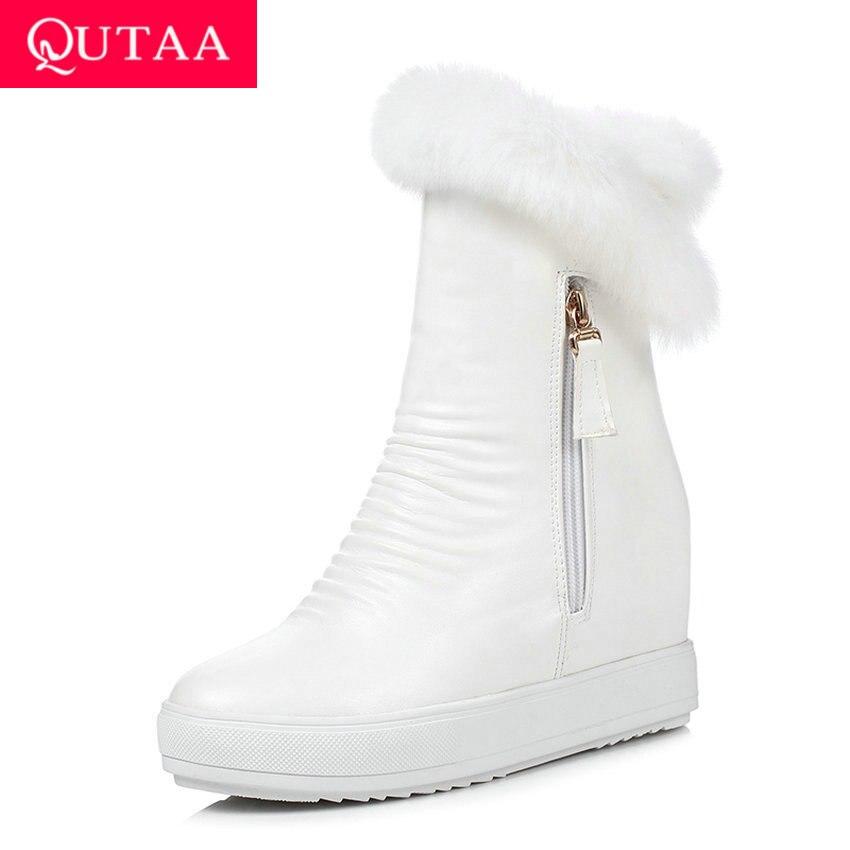 QUTAA/2020 г. Зимняя женская обувь, увеличивающая рост повседневные зимние ботинки из искусственной кожи с круглым носком ботильоны на молнии на платформе размеры 34 40-in Полусапожки from Обувь