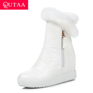 Image 1 - QUTAA/2020 г.; зимняя женская обувь, увеличивающая рост; из искусственной кожи повседневные зимние ботинки с круглым носком; ботильоны на платформе на молнии; размеры 34 40