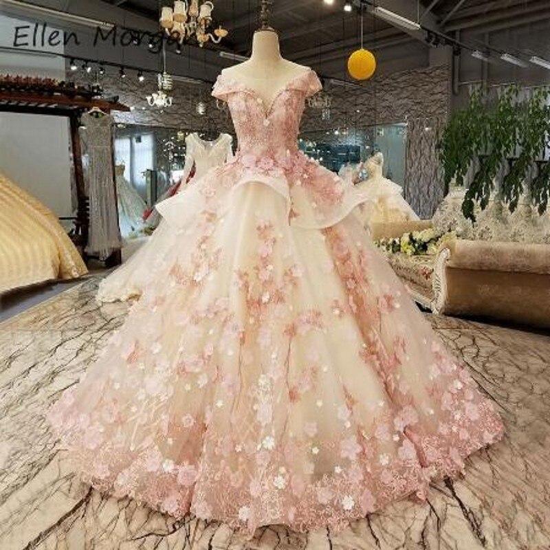 Elegante laço rosa princesa vestidos de casamento 2019 africano preto meninas rendas até puro pescoço inchado baratos vestidos de baile vestidos de noiva