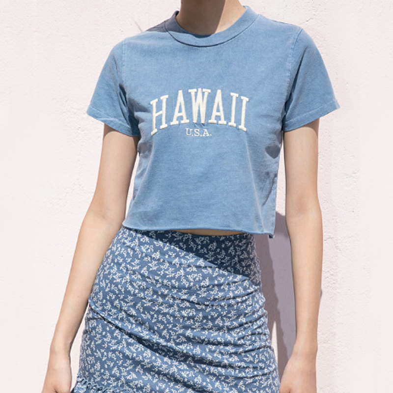 Women Embroidery Letters Washed Crop Tee With Raw Hem Short Sleeve Cotton Crop T-shirt In Blue