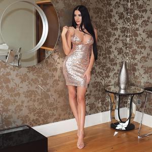 Image 4 - עלה זהב פאייטים שמלת מועדון דיסקו שמלת גליטר מבריק סקסי תחבושת שמלת קוקטייל המפלגה שמלה אדום NightOut קצר שמלת WMZ 2139