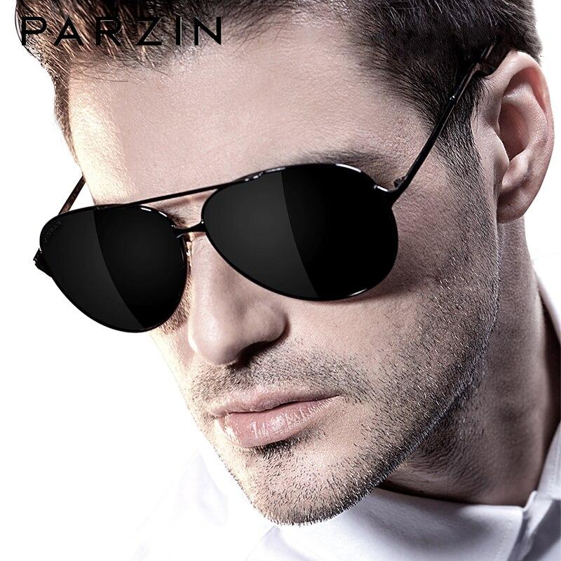 PARZIN classique Aviation hommes lunettes de soleil marque Design alliage cadre pilote lunettes de soleil polarisées pour la conduite mâle noir UV400