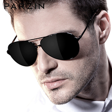 PARZIN gafas de sol clásicas de aviación para hombre, lentes de sol polarizadas con montura de aleación, para conducir, color negro, UV400