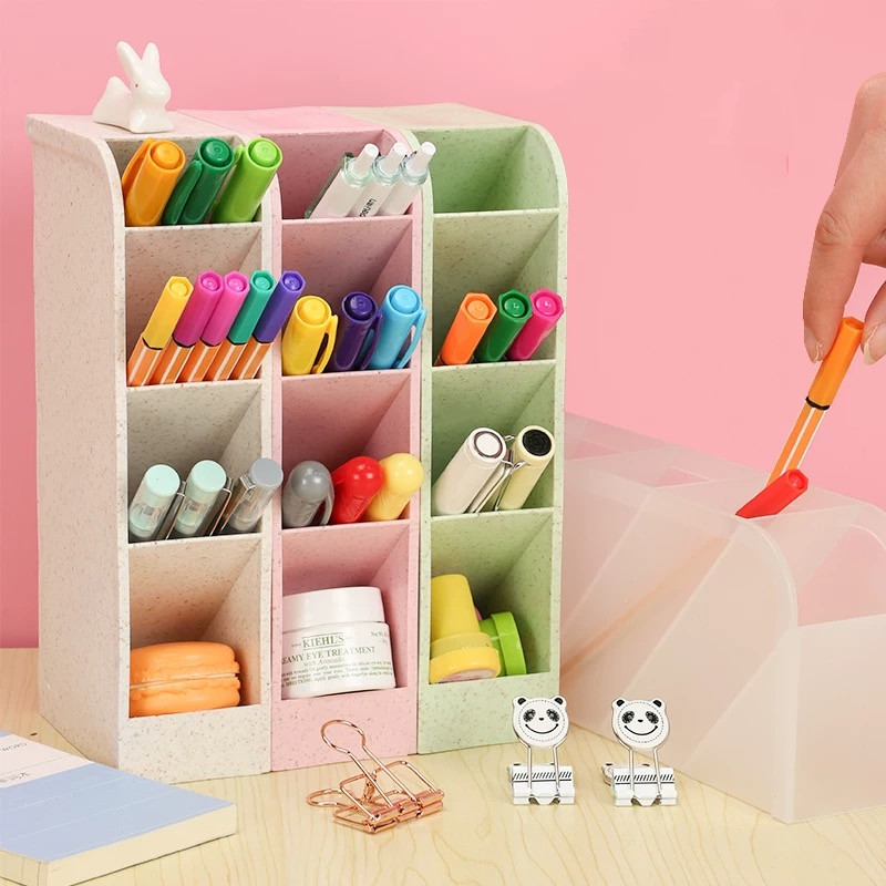 Sharkbang Kawaii Large Capacity Desk Pen Holder Pencil Makeup Storage Box Desktop Organizer Stand Case School Office Stationery