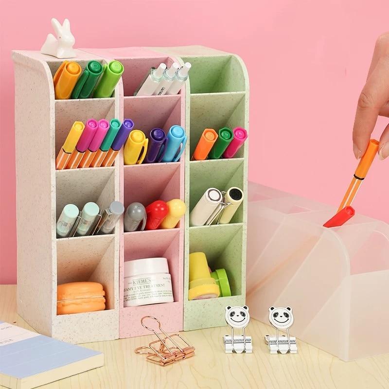 Sharkbang Kawaii Large Capacity Desk Pen Holder Pencil Makeup Storage Box Desktop Organizer Stand Case School Office Stationery|Pen Holders| |  - title=