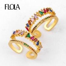 FLOLA altın dolgulu gökkuşağı baget yüzükler kadınlar için ayarlanabilir kristal manşet yüzük AAA kübik zirkonya açık bildirimi takı righ92