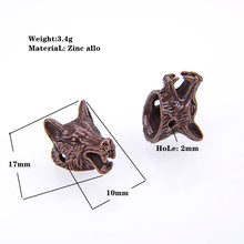 Wholesale Vintage Arrival Animal Style Bracelet Accessories Wolf Head Beads for Jewelry Making DIY Components