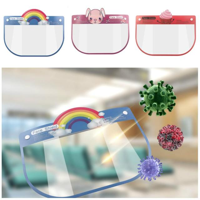 Kids Face Shields Baby Cartoon Transparent Protective Masks Anti Virus Face Cover Saliva Protection Clear Visor Shield