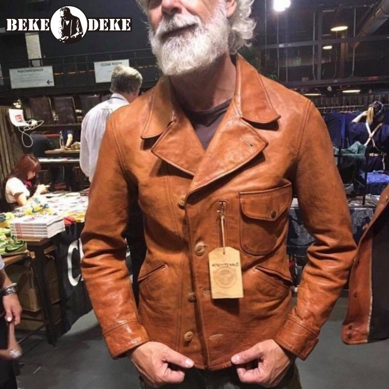 Italy Oil Wax Cowhide Coat Motor Rider Genuine Leather Jacket Winter Men Vintage Brown Leather Jacket Slim Fit Business Casual