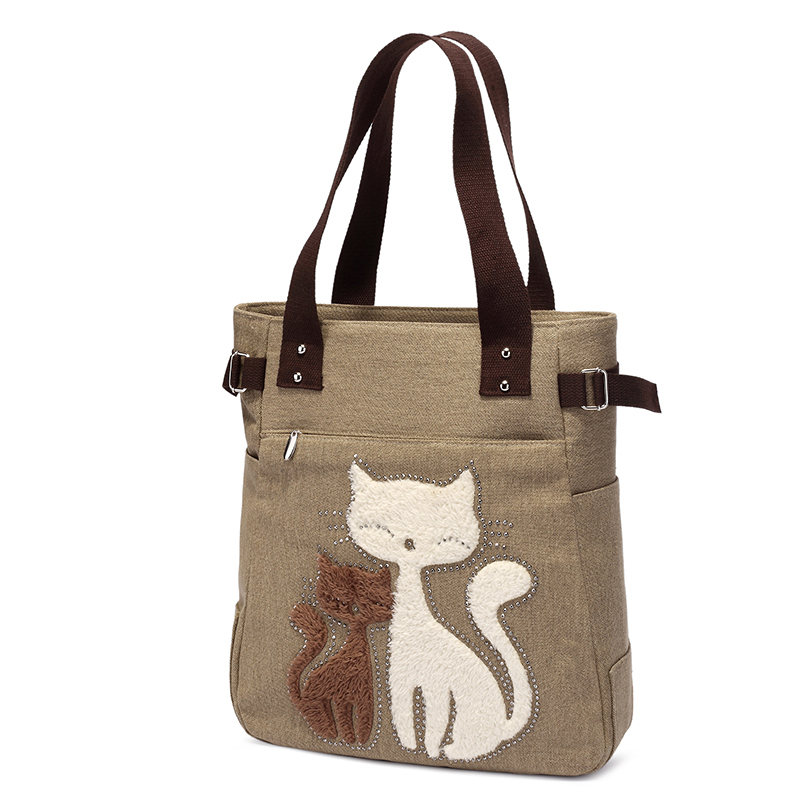 Luxury Brand Women Shoulder Bags Eco Thicken Canvas Handbag Female Big Cat Tote Bag Ladies Shopping Beach Bags Purses Hand Bag in Top Handle Bags from Luggage Bags