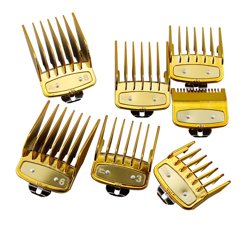 Professional 8 Sizes Hair Clipper Limit Guide Comb Set Metal Hair Clipper Attachment Comb Universal Hair Clipper Comb In Gold