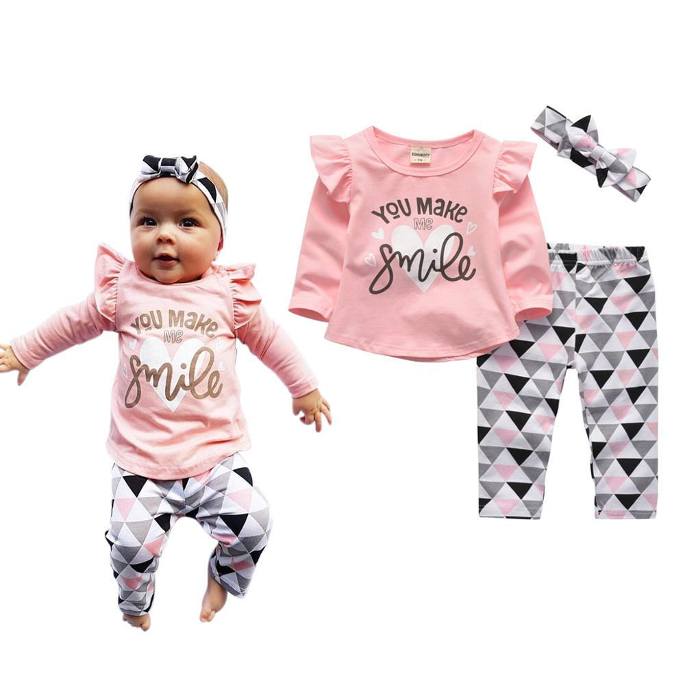 Outfits Pants Headband Tops Letter Infant Clothing Make Long-Sleeve Smile Newborn Baby-Girls