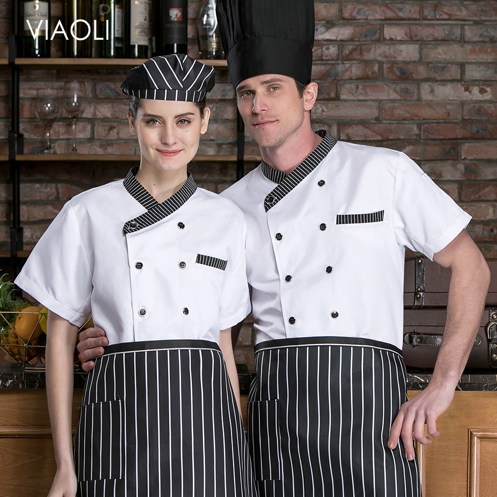 Unisex Restaurant Uniform Short Sleeve Hotel Chef Uniform Breathable Kitchen Chef Jacket Catering Cook Food Service Work Clothes