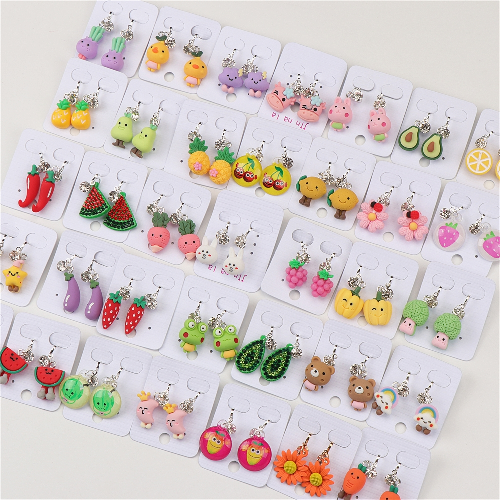 Wholesale Bulk Lot 50pairs Child Clip On Earrings Animal Fruit Mix Style For Kid Girl Jewelry Earrings