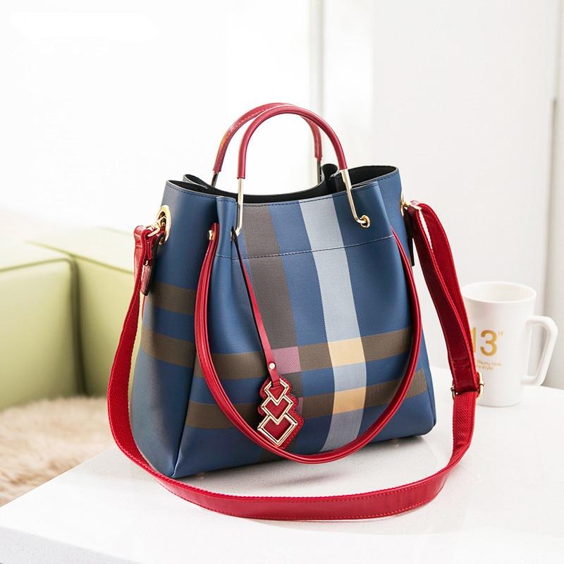 2020 New Designer Classic Plaid Stripe Tote Small Plaid Bucket Women Split Leather Handbags Ladies Messenger Bags Channels Bags