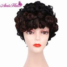 アミールショートカーリーウィッグ黒ブラウン人工毛アフロかつら前髪アフリカ系アメリカ人女性耐熱ファイバーコスプレウィッグ