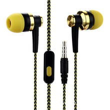 Nylon Braided Yellow Headset Wired Earphone With Mic Portabl
