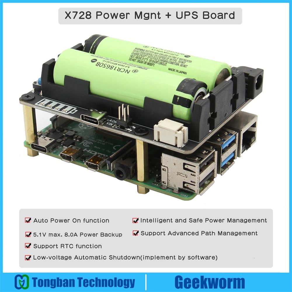 Raspberry Pi 18650 UPS (макс. 5,1 В 8a), X728 плата управления питанием с автоматическим включением питания и безопасным отключением для Pi 4 Model B / 3B + / 3B