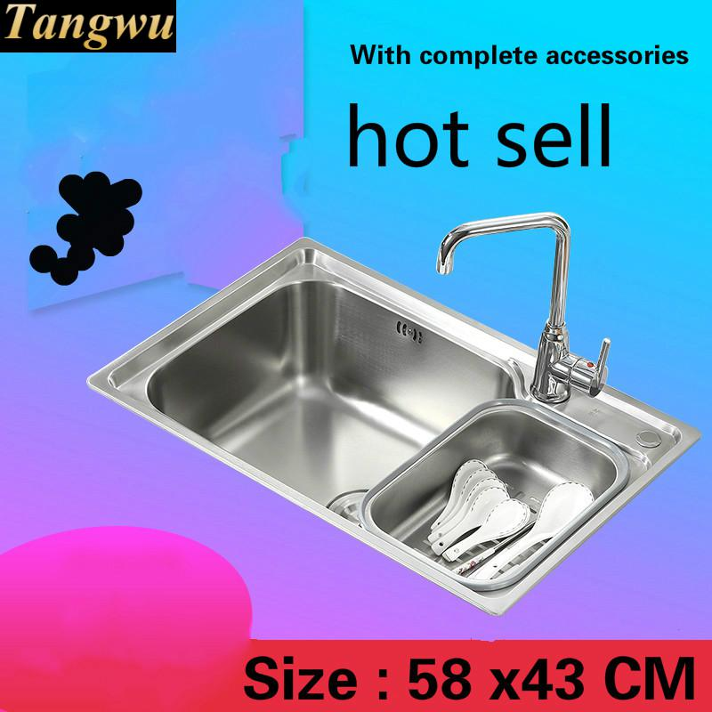 Free Shipping Fashionable Small Kitchen Sink 0.7 Mm Thick Food Grade 304 Stainless Steel Single Slot Hot Sell 58 X43 CM