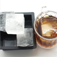 Ice Tray Party Bar Supplies Black Square Silicon Ice Mold for Cocktail Frozen Silicone Ice Cubes Tray Ice Maker