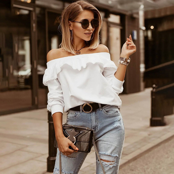 Autumn Elegant Laides Shirt Off Shoulder Long Sleeve Blouse Women White Ruffled Shirts Female Solid Color Tops Blusas Mujer hot hot sale sexy shirt new women solid lace cold shoulder long sleeve slim blouse top shirts 2019 elegant shirt female clothes