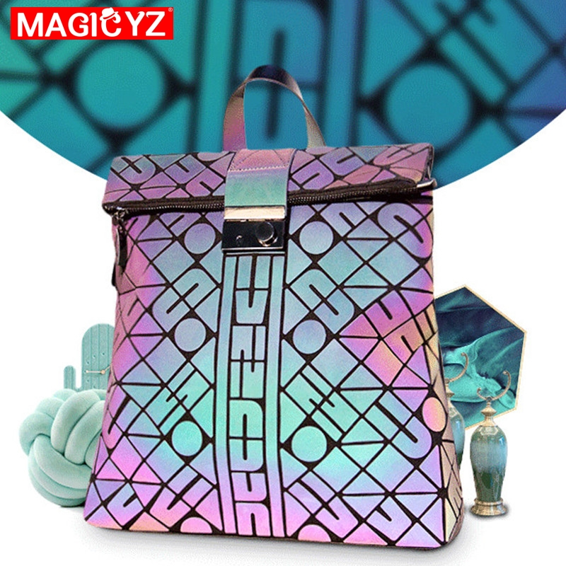 NEW Luminous Backpack Woman 's Geometric Luminous Bag Fashion Brand Girls Noctilucent Travel Shoulder Bags For School Back Pack