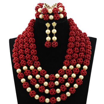 Gorgeous Wine Red African Coral Beads Necklace Set Nigerian Wedding Indian Bridal Jewelry Set 2019 New Handmade Jewelry HX538