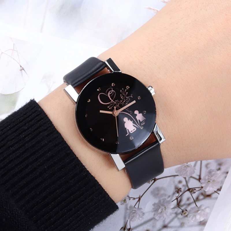WJ-5350 Classic Simple Couple Watch Ladies Women Watches Diamond Lover's Watches Men Leather Quartz Wristwatch Clock Gift reloj