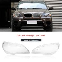 цена на Car Clear Headlight Lens Cover Replacement Headlight head light lamp Shell Cover for BMW X5 E70 2008-2013
