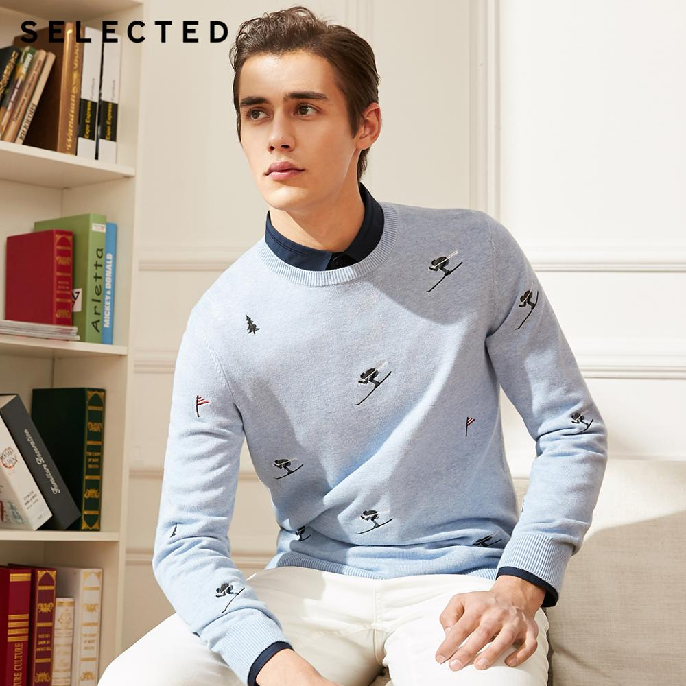 SELECTED New Men's Cotton Embroidery Embroidery Knitted Sweater C|418424504
