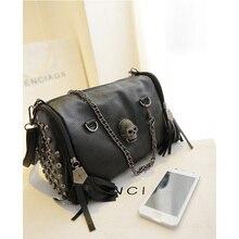 Diinovivo Skull Chain Handbags Tassel Designer Rivet Women Bag Vintage Shoulder Bag  Large Capacity Punk Bag  Female WHDV1599