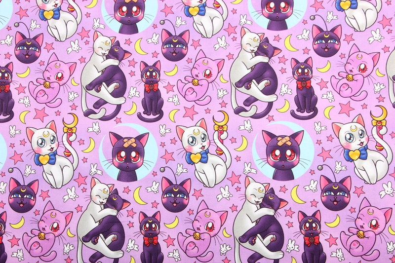 Cats Printed Cotton Black Fat Quarter