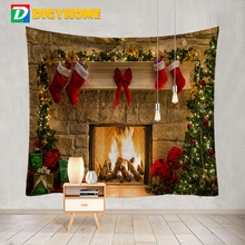Christmas Tapestry Fireplace Style Warm Feeling Beautiful Home Decoration Cool Polyester Thin Christmas Wall Hanging Cloth