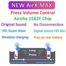 Airx max tws bluetooth fones de ouvido controle volume com texto tws sem fio 10d super bass pk i90000 max i900000 max