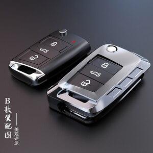 Image 1 - Yeni alaşım anahtar kapağı kılıfı Volkswagen VW TIGUAN Golf Skoda Octavia için araba kılıflı anahtar koruma aksesuarları