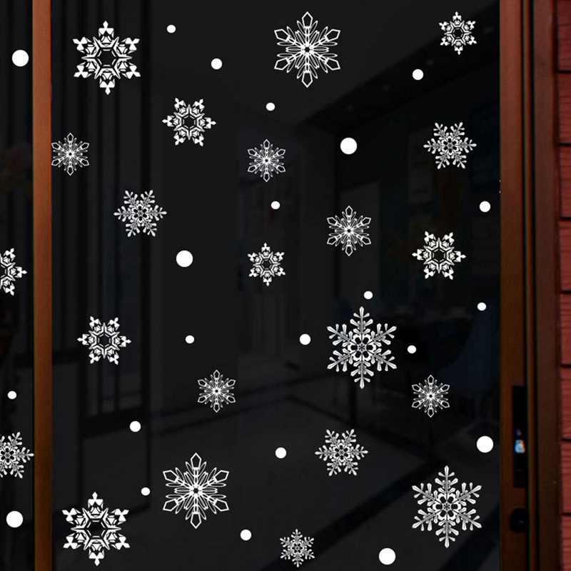Зимой стены Стикеры s детской комнаты Рождество с принтом снежинки; украшения для дома Новый год Стикеры s рождественский снежинка окно Стикеры