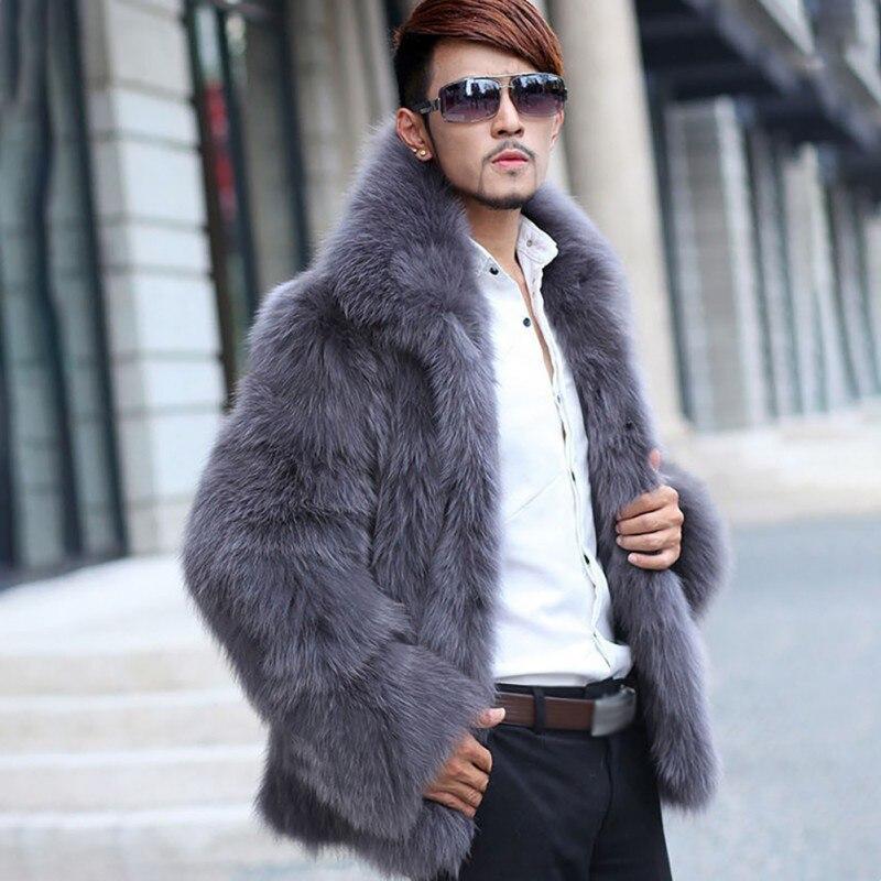 Mode chaud hommes fausse fourrure manteaux vêtements à manches longues Turn Down col poilu pardessus hiver Outwear poilu manteau jaqueta de cour