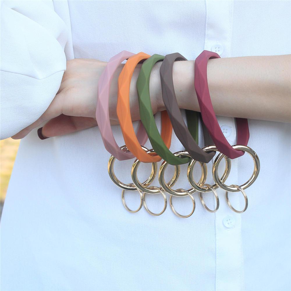 New Hot Rhombus Silica Gel Wear Bracelet Keychain Geometric Silicone Keyring For Women Men Trendy Circle Wrist
