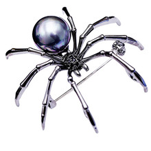 Lady Copper Material Individuality Black Spider Brooch Pin AAA  Zircon For Women Clothes Bag Accessories