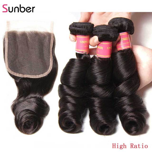 Sunber Hair Peruvian Loose Wave Hair Bundles With Closure Remy Human Hair Weaves 16 26 inch 3 /4 Bundles With Closure
