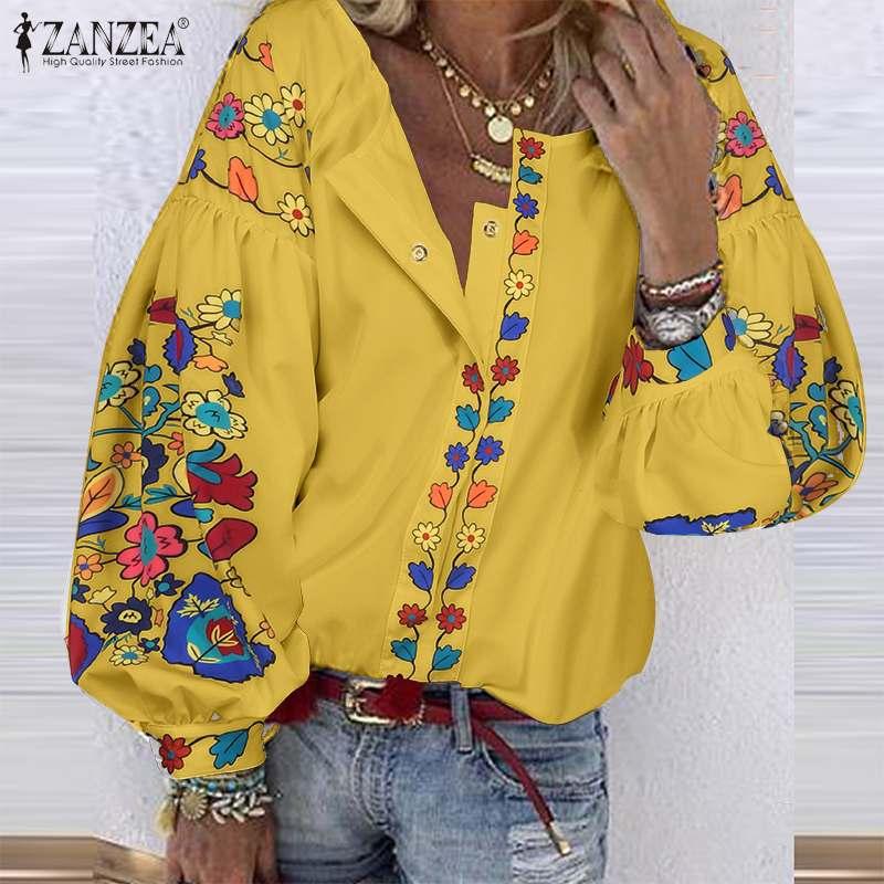 Bohemian Puff Sleeve Shirts Womens Printed Blouse 2020 ZANZEA Spring Shirts Female Floral Blusas Button Tunic Plus Size 5XL