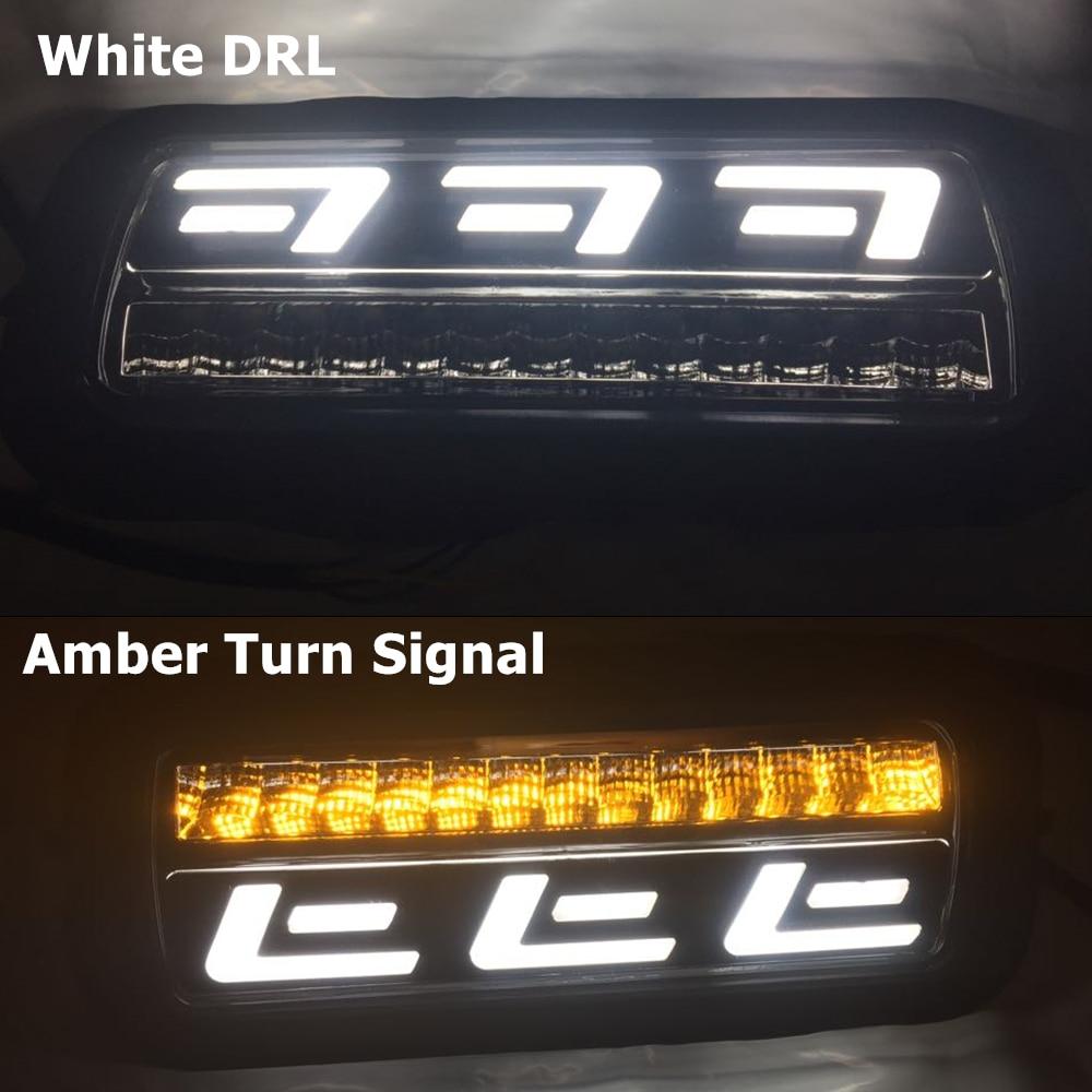Più alto stella 12 W 2 unità Led giorno runing luci, auto fendinebbia Anteriore funzione della lampada DRL con indicatori semaforo giallo Per Honda CRV 2012 2014 - 6