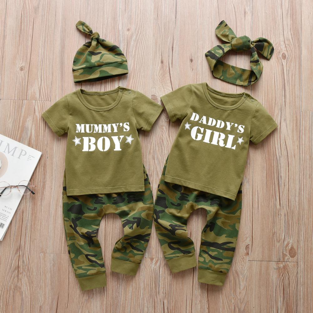 3 szt. Boys Baby dziewczyny rodzinne litery noworodka ubrania zestaw z krótkim rękawem T-shirt topy Casual spodnie kamuflażowe odzież niemowlęca