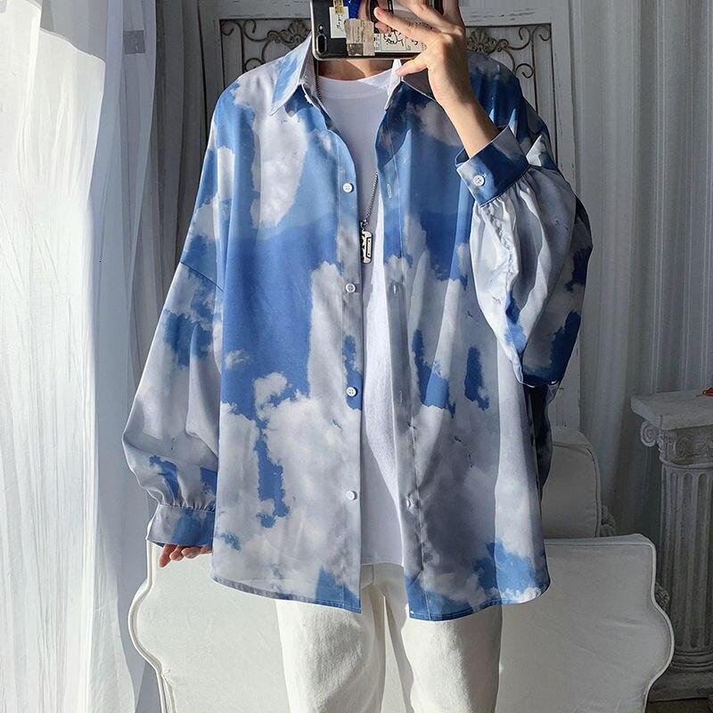 Autumn Tie-dye Shirt Men's Fashion Retro Casual Shirt Men Streetwear Wild Loose Korean Long-sleeved Shirt Mens Dress Shirt M-2XL