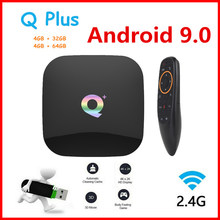 Q plus caixa de tv inteligente android 9.0 caixa de tv 4gb ram 32gb/64gb rom quad core h.265 usb3.0 2.4g wifi conjunto caixa superior 4k tvbox media player