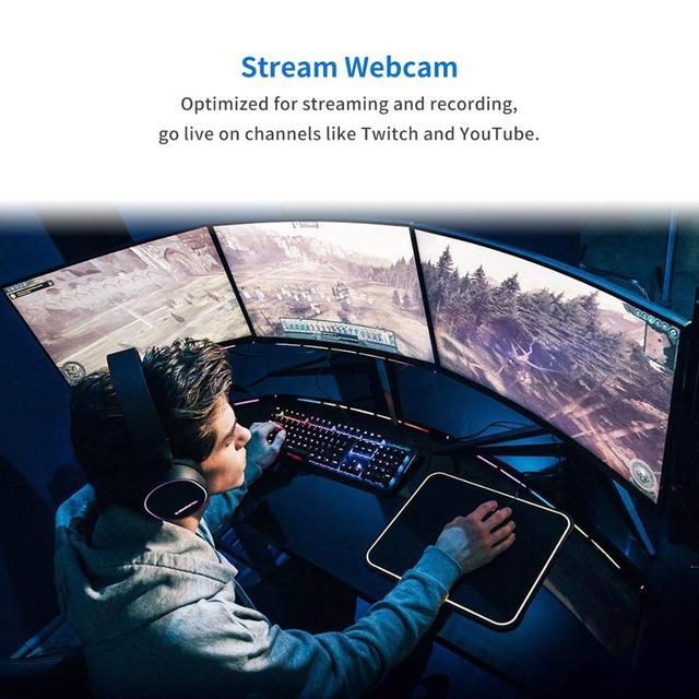Webcam USB Web Camera Full HD 1080P 30FPS Webcam Web Cam with Microphone Clip-on 1/2.7 CMOS (Sony IMX307) PC Camera 120° Fov 5